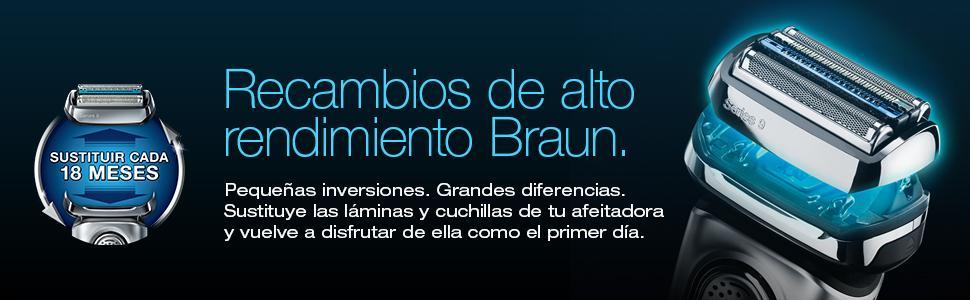Braun 10B Pack de Recambio para Afeitadora Eléctrica Hombre Series 1/Freecontrol/CruZer con Láminas de Recambio y Portacuchillas, Negro: Amazon.es: Salud y cuidado personal