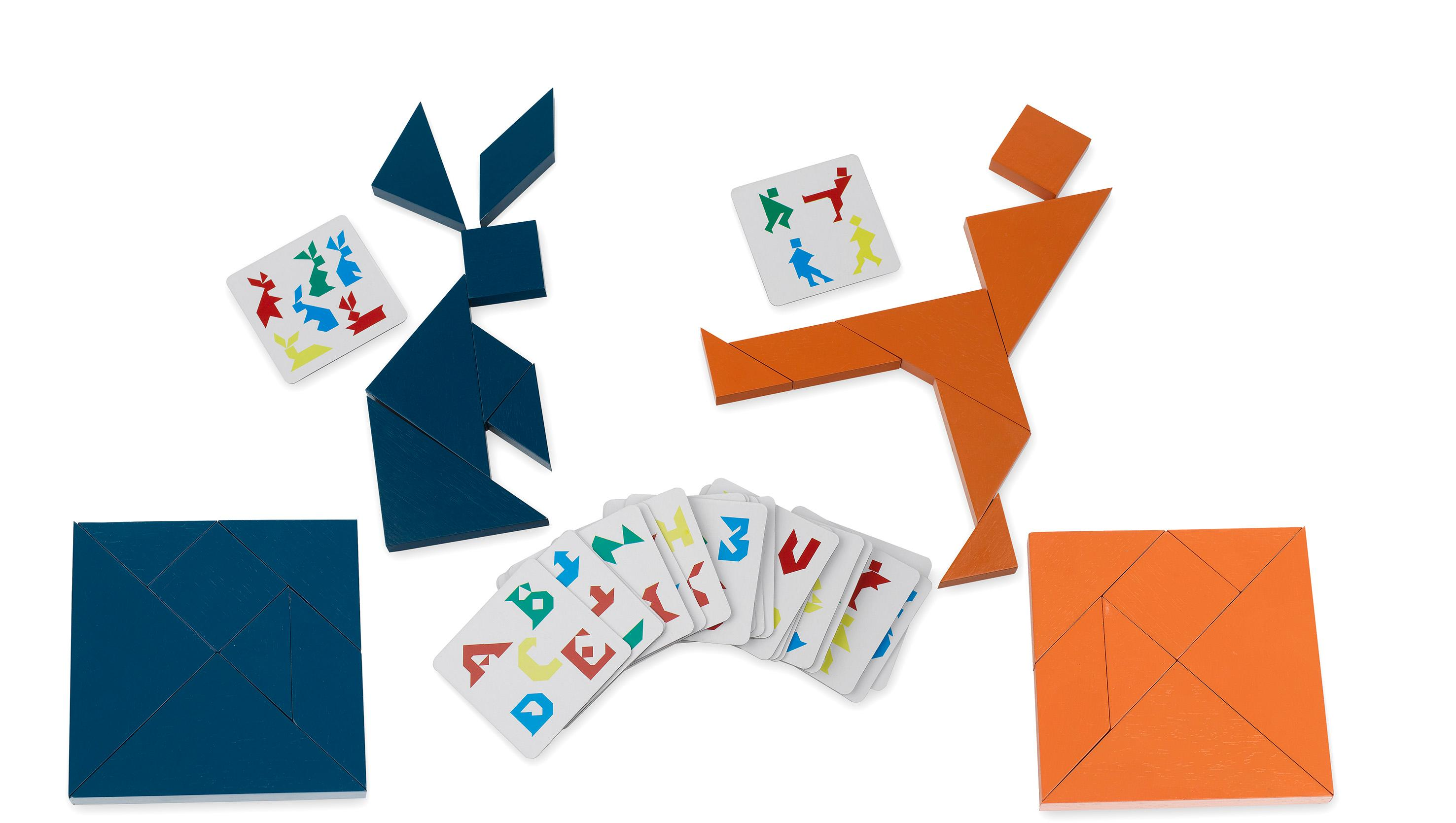 Aquamarine Games - Tangram Doble en Madera, Juego de