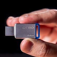 Kingston DT50/64GB Memoria Usb de 64 Gb, 64 Gb, Azul