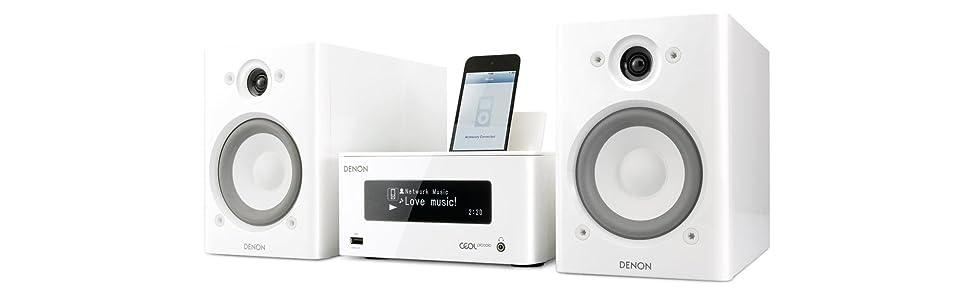 Denon CEOL Piccolo - Microcadena de 65W, color blanco ...