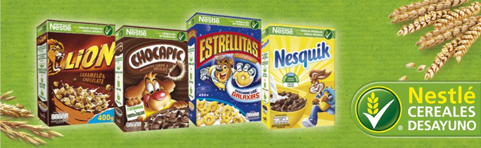 cereales, cereales integrales, nestle, chocapic, estrellitas, lion, nesquik, chocolate