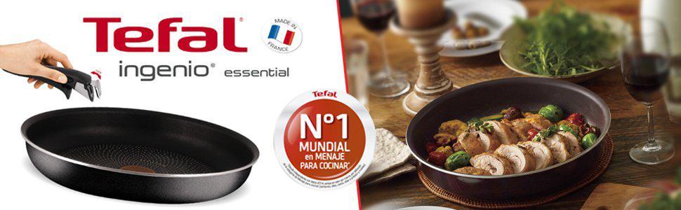 Tefal Ingenio Essential - Set de 3 piezas de aluminio con mango extraíble, sartenes de 20, 24 y 26 cm aptas para horno + 1 mango intercambiable, ...