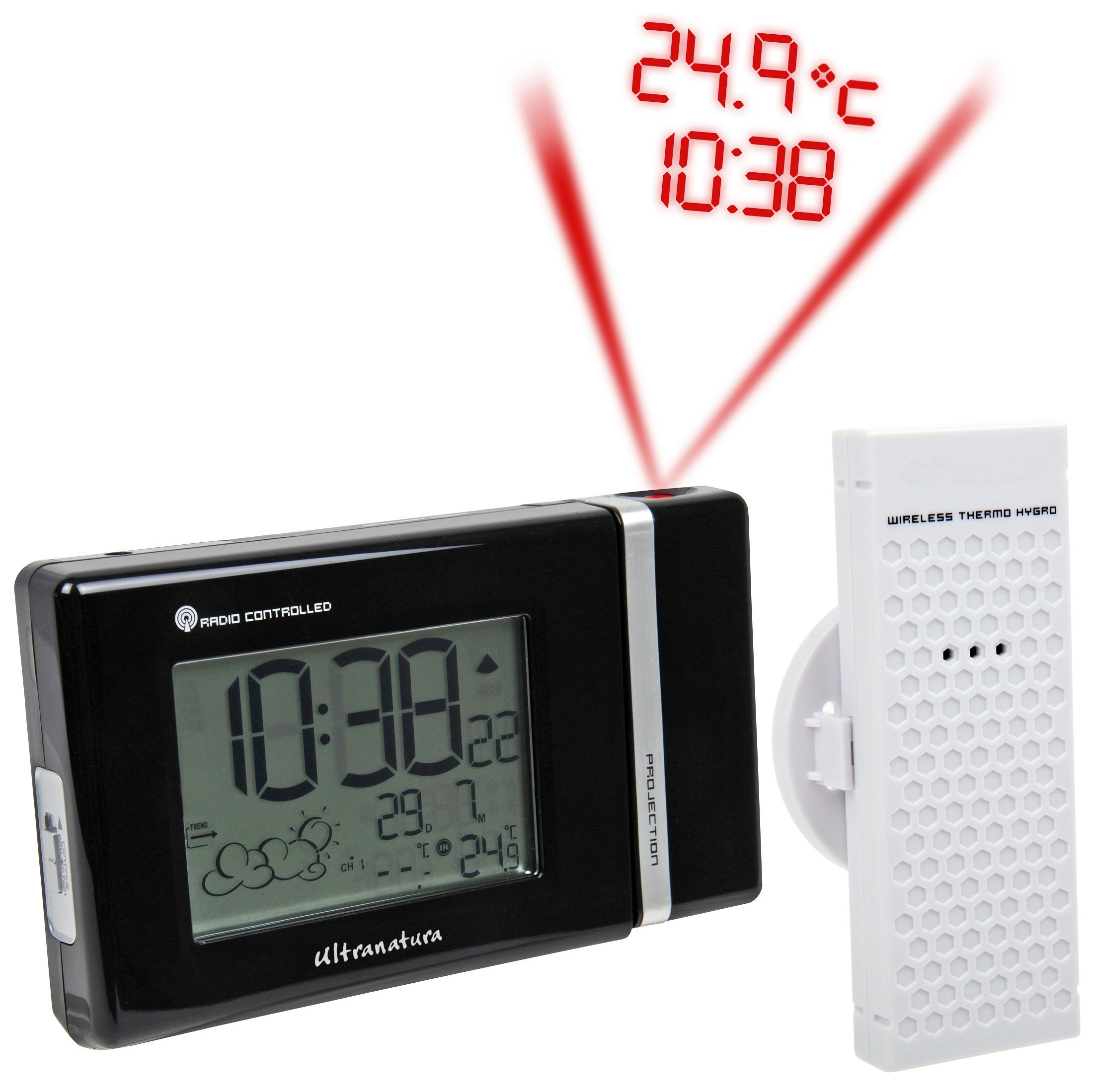 Ultranatura UN 600 - Reloj proyector Digital controlado por Radio con previsión meteorológica, Sensor Exterior Incluido