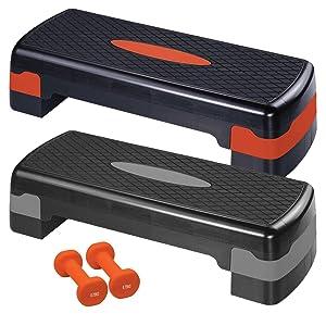 Ultrasport Step de aeróbic / step / stepper de aeróbic con 2 x mancuernas de vinilo de 0,75 kg