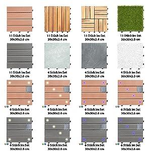 Losetas de madera para jardin ultranatura sets de - Baldosas de madera para jardin ...