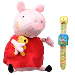 Amazon.es: Peppa Pig - Peluche Peppa y su Smartwatch (Bandai 84870)