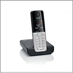 Siemens Gigaset C300 - Teléfono fijo inalámbrico (DECT, alarma, teclado retro iluminado), Negro y plata: Amazon.es: Electrónica