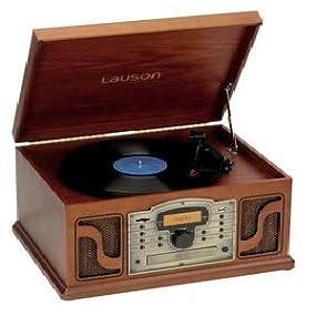 Lauson CL 123 -Tocadiscos (CD, USB, MP3, LCD), color marrón