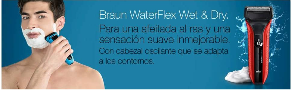 Braun WaterFlex WF2 - Afeitadora eléctrica Wet & Dry, color rojo ...