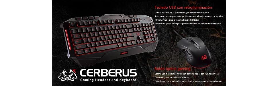 Asus Cerberus - Teclado gaming retroiluminado con diseño a prueba de salpicaduras, 12 teclas macro, pies completamente recubiertos de goma
