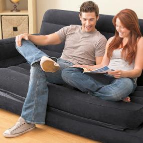 sillón, hinchable, deshinchable, sofá cama, flocado, Intex, 2 en 1, hinchar, inflar, apoyabrazos