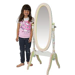 Espejo de madera de cuerpo entero Crackled Rose de Fantasy Fields W-6308A