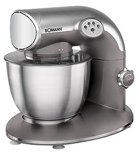 Bomann KM 315 Batidora amasadora, 5.6 litros, 5 velocidades, 1200 W, incluye báscula de cocina, acero inoxidable, Negro/Plateado: Amazon.es: Hogar