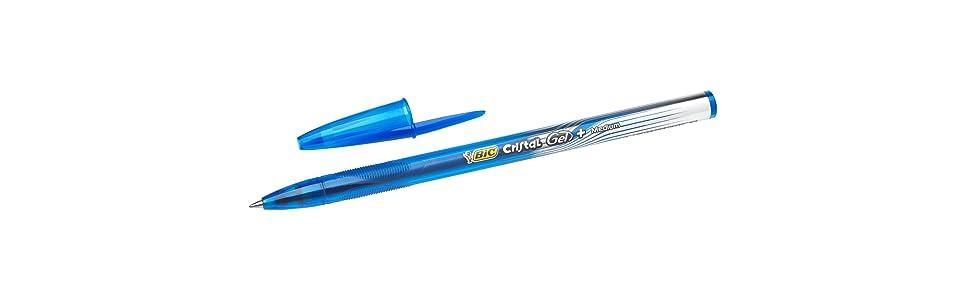 BIC Cristal Gel+ - Caja de 20 unidades, bolígrafos punta media (0,7 mm), color azul: Amazon.es: Oficina y papelería