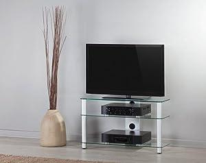 Elbe Neo-390-C-SLV Mueble soporte para televisión, pantallas TV hasta 40, peso soporte hasta 50 kg, vidrio y aluminio, columna trasera y patas plateadas: Amazon.es: Electrónica