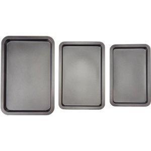 AmazonBasics - Juego de 3 bandejas de horno para
