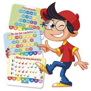 En cada tarjeta las notas están indicadas con su nombre y con un color, que también figura en los botones, para que así los niños puedan fácilmente recrear ...