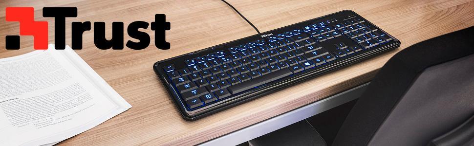 Trust eLight - Teclado con teclas iluminadas LED, color negro y azul, teclado español [España]