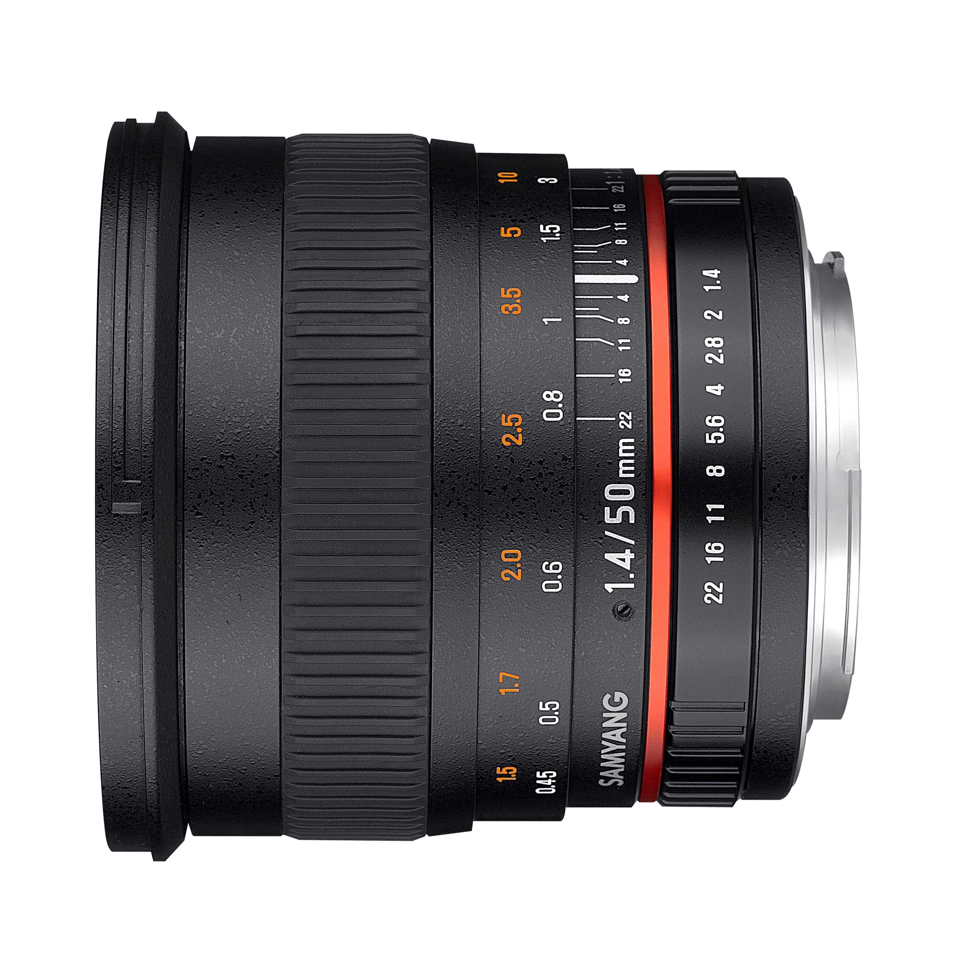 Objetivo fotogr/áfico DSLR para Canon EF Samyang F1111101101 Distancia Focal Fija 50mm, Apertura f//1.4-22 AS UMC, di/ámetro Filtro: 77mm Negro
