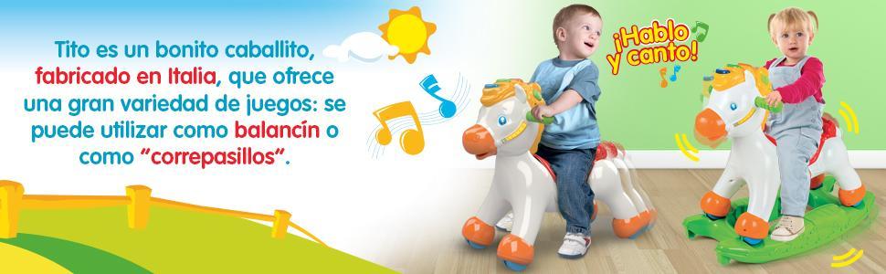 Baby Clementoni- Disney Caballito Balancín, Color Blanco, única (65477.2)