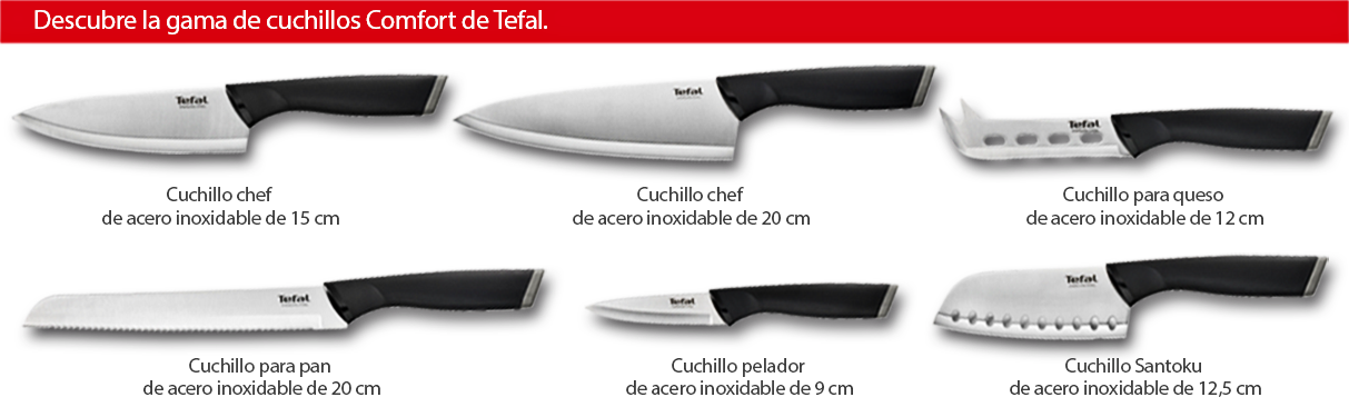 Tefal Queso Comfort-Cuchillo, 12 cm, Color Negro, Acero Inoxidable