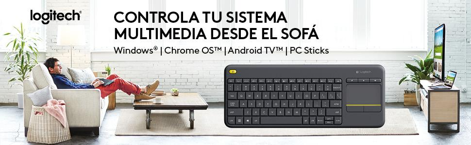 Logitech K400 Plus - Teclado inalámbrico para televisores conectados a PC, Qwerty español, color negro
