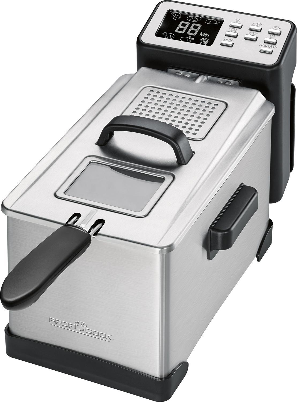 ProfiCook PC-FR 1087 Freidora semiprofesional con display digital programable, totalmente desmontable, 2000 W, 3 litros, Acero Inoxidable, Plata/Negro
