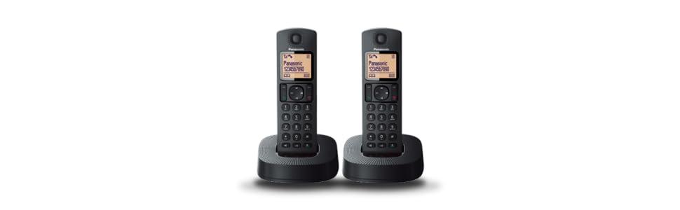 Panasonic TGC312SPB- Teléfono Fijo Inalámbrico Dúo, LCD, Identificador de Llamadas, 16H Uso Continuo, Localizador, Agenda De 50 números, Bloqueo Llamada, Modo ECO, Reducción Ruido, color Negro: Amazon.es: Electrónica