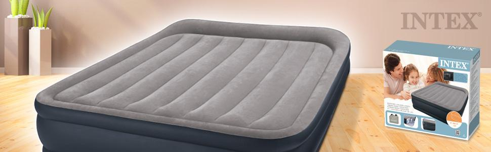 Intex Pillow Rest Raised - Cama hinchable con bomba eléctrica, 152 x 203 x 43 cm, color azul