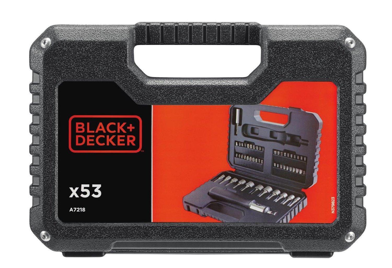 Black+Decker A7218-XJ Kit de 53 piezas para atornillar con atornillador de carraca