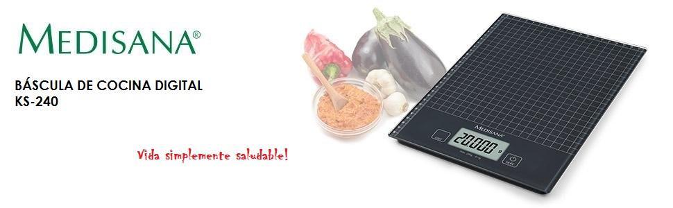 Medisana KS 240 Báscula Digital de cristal XL con funciones de tara y memoria, color negro, 20 kg