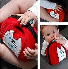 Completo botiquín de primeros auxilios para familias con bebés y niños pequeños.