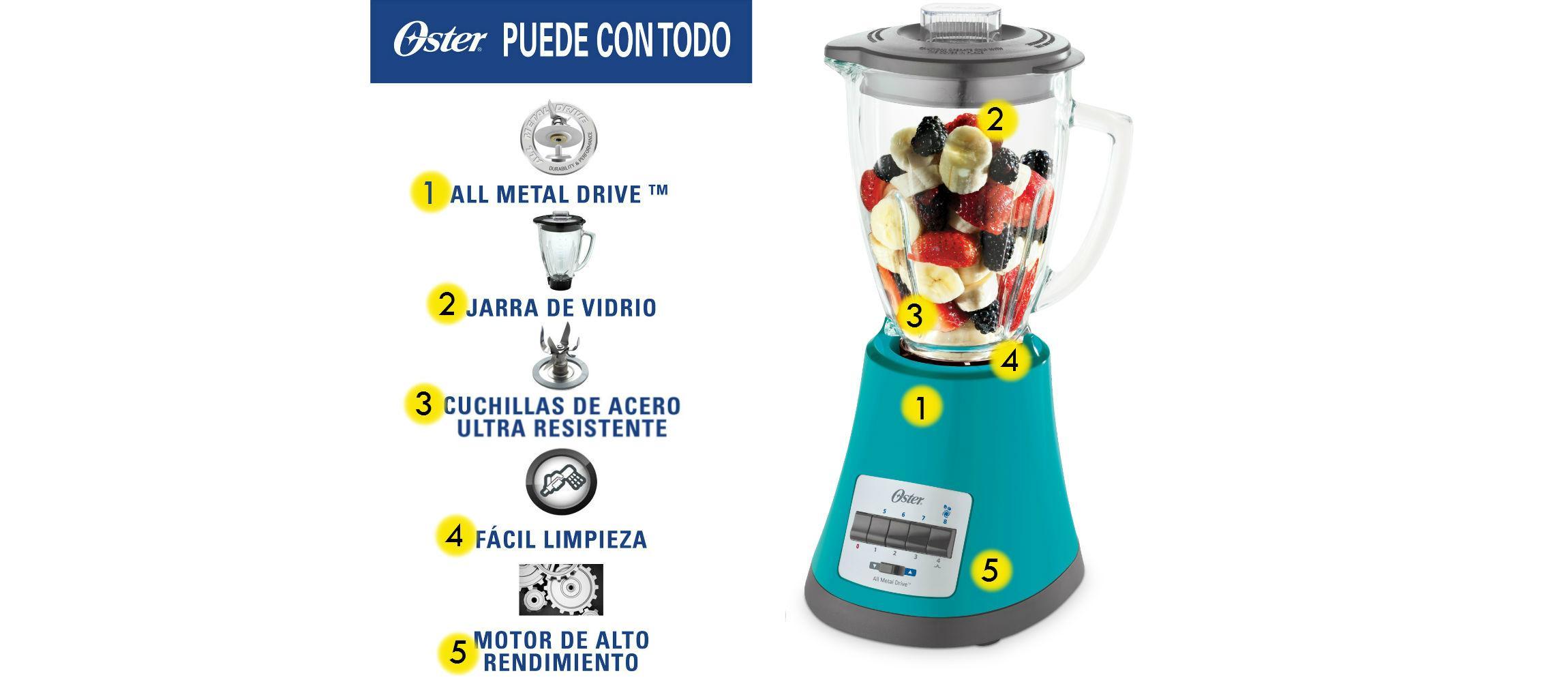 Oster Monterrey - Batidora de vaso, 450 W, 8 velocidades, color ...