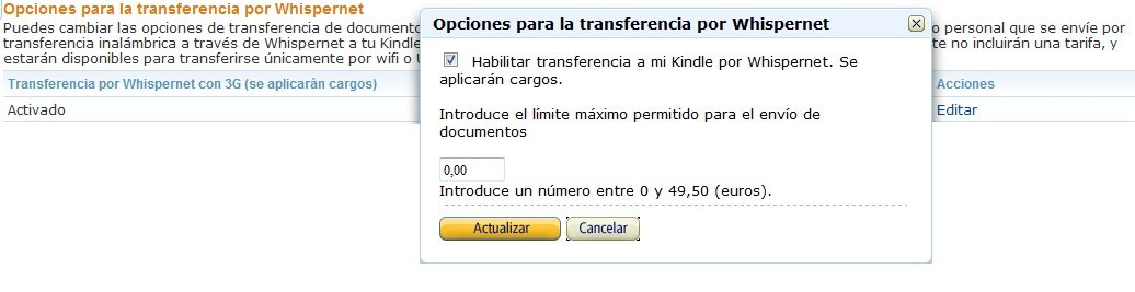 Image of Enabling/Disabling Whispernet Delivery options for personal documents in Manage Your Kindle