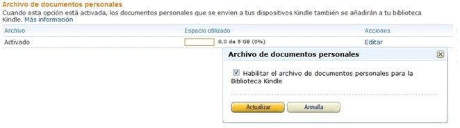Description: Enable personal document archiving on the Manage Your Kindle page