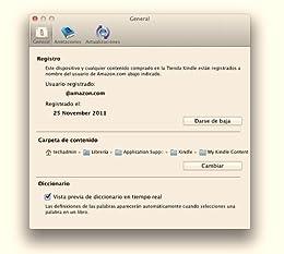 kindle for mac options menu registration details