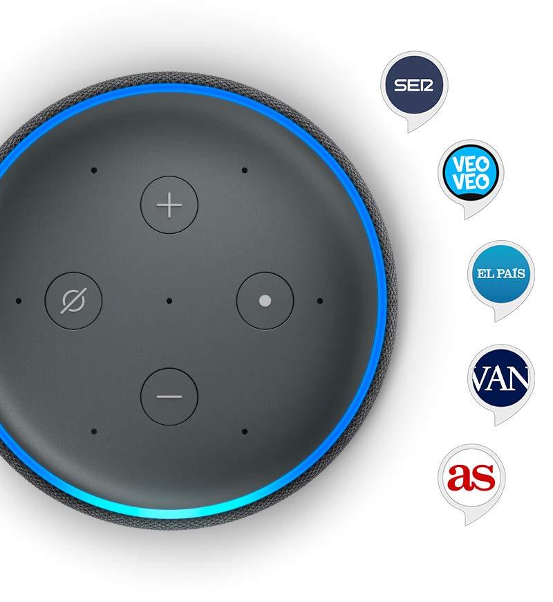 Echo Plus (2.ª generación) - Sonido de alta calidad y controlador de Hogar digital integrado, tela de color gris oscuro