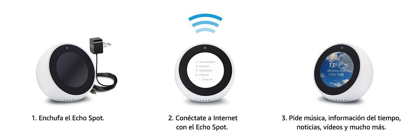 Fácil de configurar y usar - 1. Enchufa el Echo Spot | 2. Conéctate
