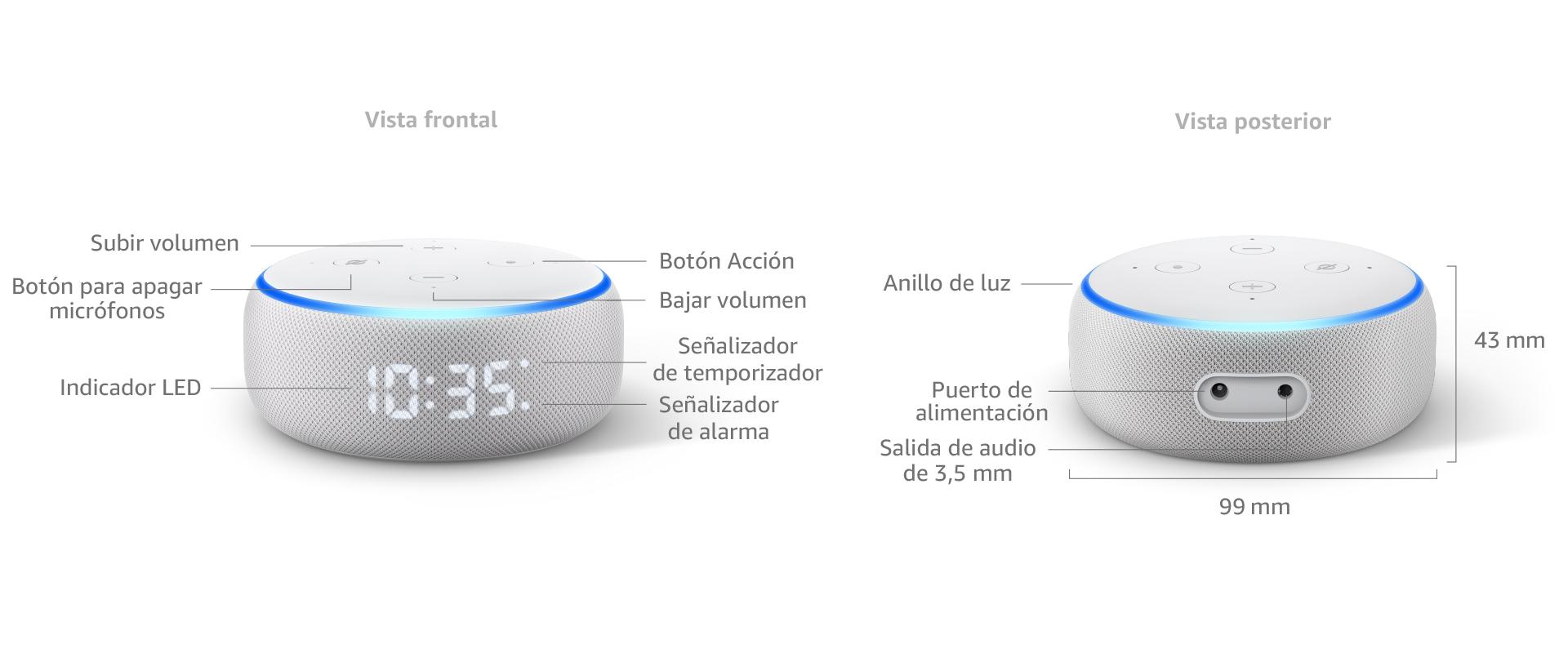 Nuevo Echo Dot (3.ª generación) - Altavoz inteligente con reloj y ...