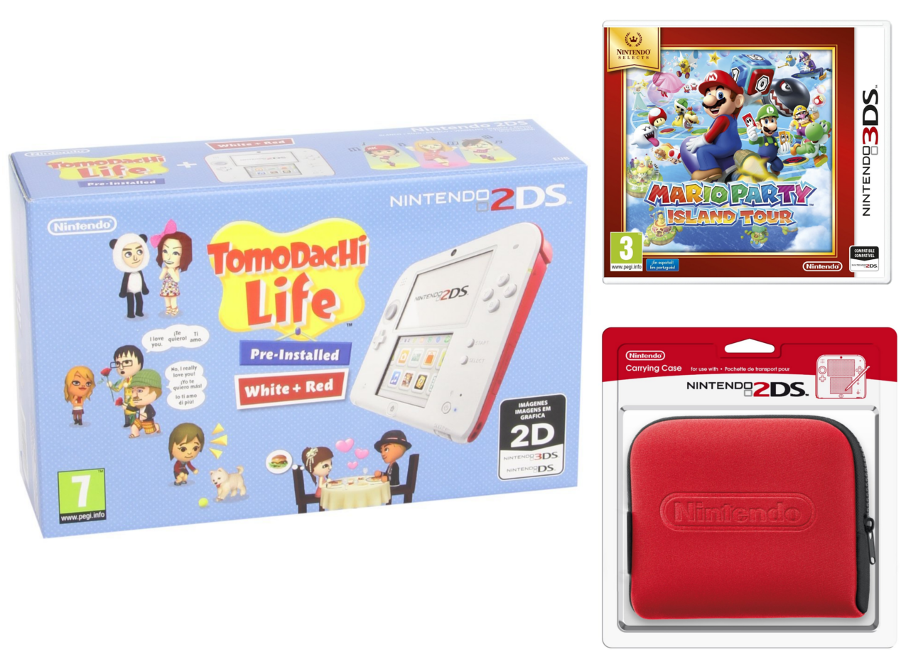 Nintendo 2DS - Consola, Color Rojo + Tomodachi Life (Preinstalado) + Mario Party: Island Tour + Funda, Color Rojo
