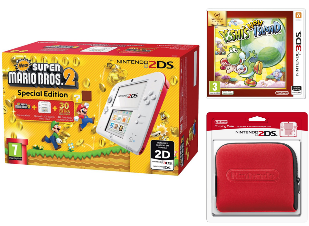 Nintendo 2DS - Consola, Color Rojo + New Super Mario Bros 2 (Preinstalado) + Yoshi's New Island + Funda, Color Rojo