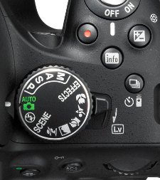 This picture shows a close-up view of the controls on the top of the D5200 camera.