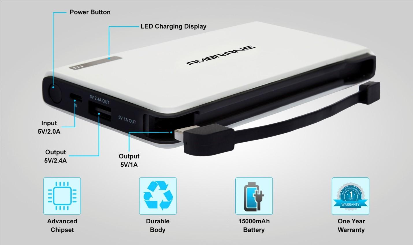 From the manufacturer Ambrane Plush PP 1500 15000mAH