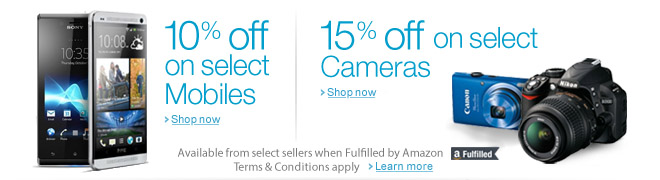 10% off on select Mobiles & 15% off on select Cameras