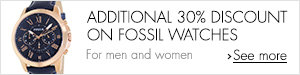 Additional discount on Fossil watches