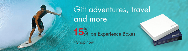 Gift adventures, travel and more : 15% Off on Experience Boxes