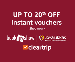 20% off on Instant #Bookmyshow and ClearTrip eVouchers
