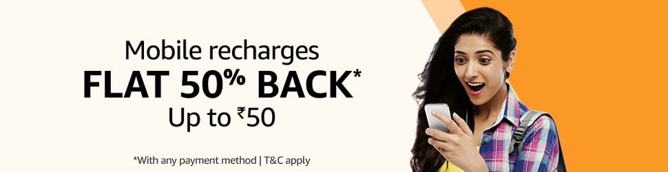 Mobile recharges FLAT 50% BACK