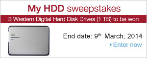 Enter for a chance to win a Western Digital 1TB Hard Disk Drive.