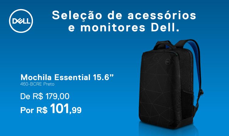 "Mochila Dell Essential 15.6"" por 101,99 reais"